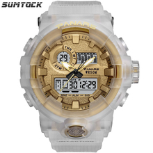 Sumtock Big Men Digital Sport Watch Water Resistant Watch 5Bar LED Display Multiple Time Zone Chronograph Electronic Watch стоимость