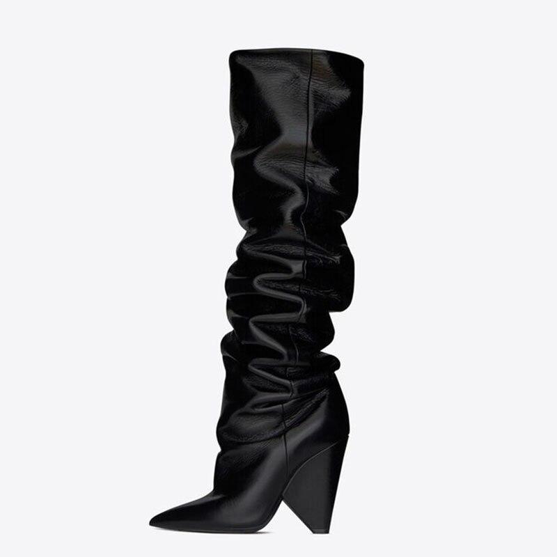 Estilo marca de moda botas altas por encima de la rodilla Sexy de microfibra de cuero caliente de noche Club de baile botas de baile