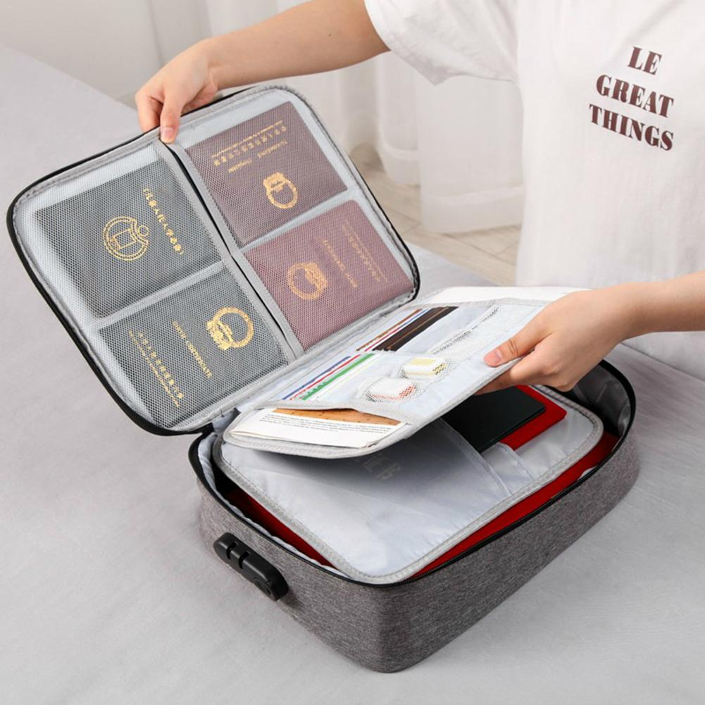 Document Storage Bag Waterproof Large Capacity Double-layer Certificates Files Diploma Sorting Bag Organizer For Home Travel