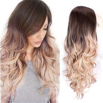 SUe wykwintne peruki syntetyczne dla kobiet blond Ombre długie faliste częściowe syntetyczne peruki damskie naturalną linią włosów pełne peruki tanie i dobre opinie SUe EXQUISITE Wysokiej Temperatury Włókna long Falista 1 sztuka tylko Średnia wielkość