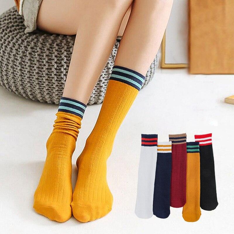 10 пар полосатых модных носков, хлопковые женские осенне-зимние носки, одноцветные простые носки, повседневные праздничные подарки