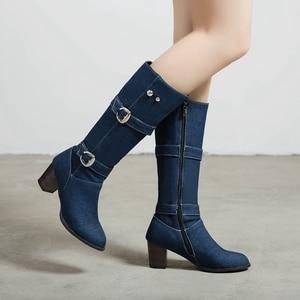 Image 3 - ORCHA リサ女性の靴西洋分厚いブルージーンズ布ミッドカーフブーツスクエアハイヒールバックルデニム靴女性ビッグサイズ