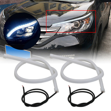 2PCS Auto LED Xenon Licht Streifen 12V DRL Tagfahrlicht 6000K Wasserdichte Flexible LED Streifen Scheinwerfer dekorative Lampe