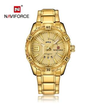 NAVIFORCE Luxury Brand Mens Sport Watch Gold Full Steel Quartz Watches Men Date Waterproof Military Clock Man relogio masculino 3