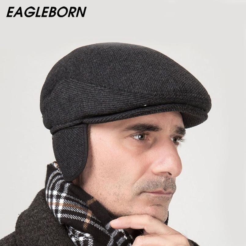 Брендовая новая зимняя шапка берет 2020, утолщенная шапка ушанка, одноцветная шерстяная Складная шапка в полоску, Кепка с плоской подошвой flat cap flat cap brandswinter beret hats   АлиЭкспресс