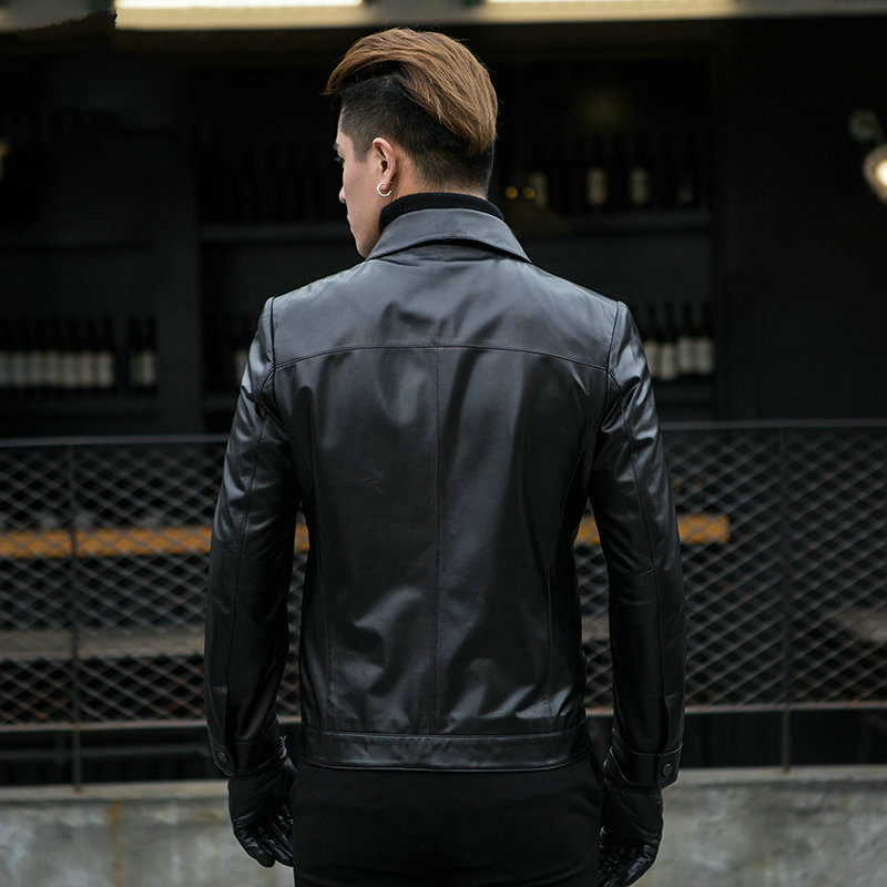 Genuine Leather Jacket Men Short Spring Autumn Mens Sheepskin Coat Slim Men Leather Jackets And Coats CJX801A KJ1108