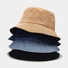 Bucket-Hat Fisherman-Hat Winter Corduroy Hip-Hip-Cap Reversible Foldable Autumn Solid