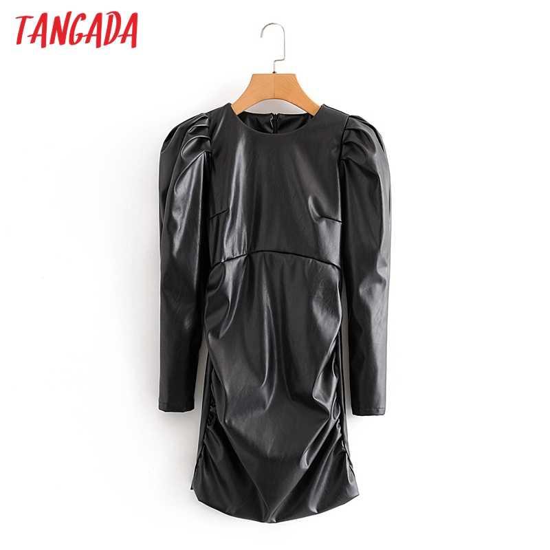 Tangada 2020 Herfst Winter Vrouwen Solid Pu Faux Lederen Jurk Bladerdeeg Lange Mouwen Terug Zipper Dames Slim Party Dress QN3