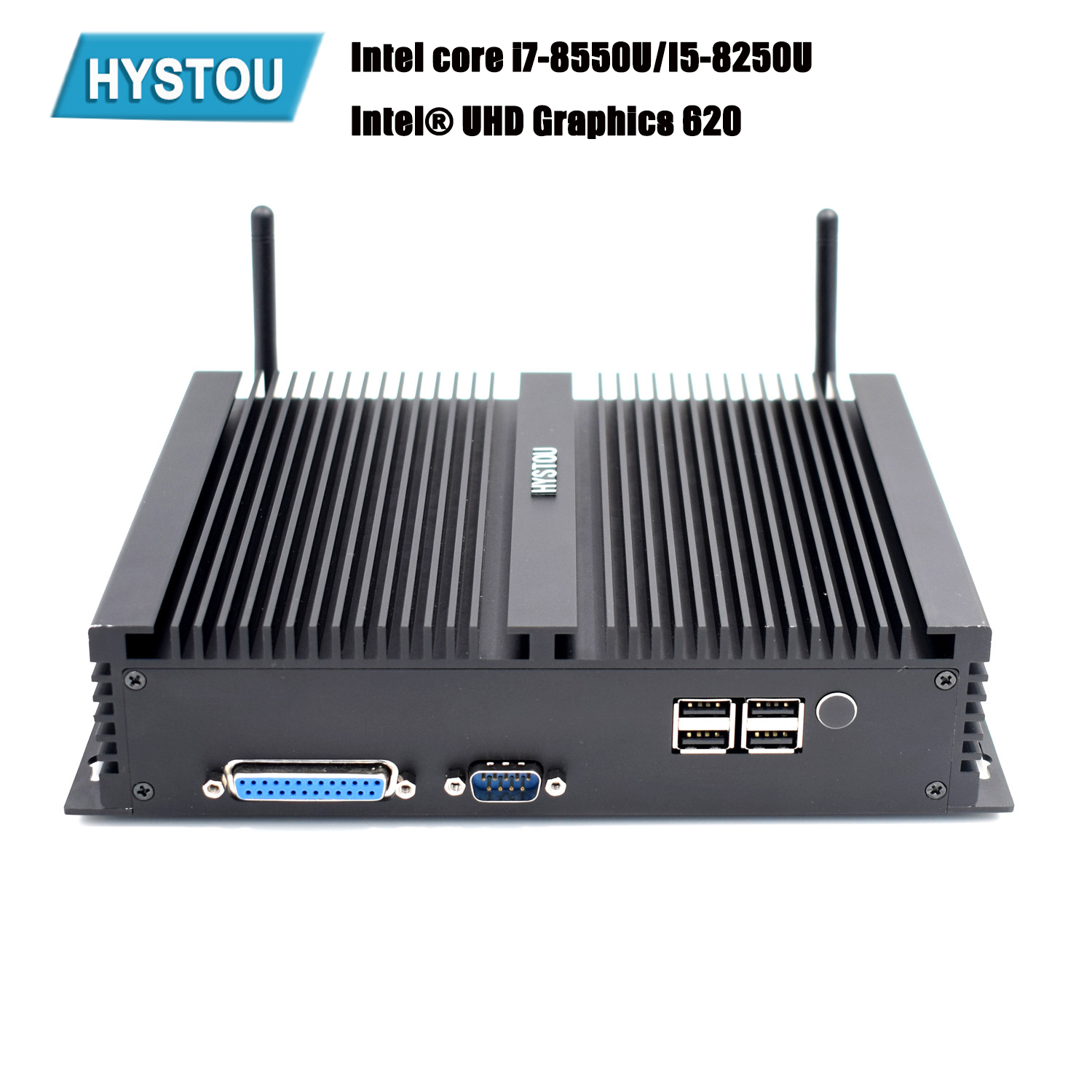 Hystou Mini PC 8th Intel Core Industrie Fanless i5 8250U i7 8550U Windows 10 DDR4 HDMI DP 4K RS232 HTPC NUC Dual Lan m2 WIFI
