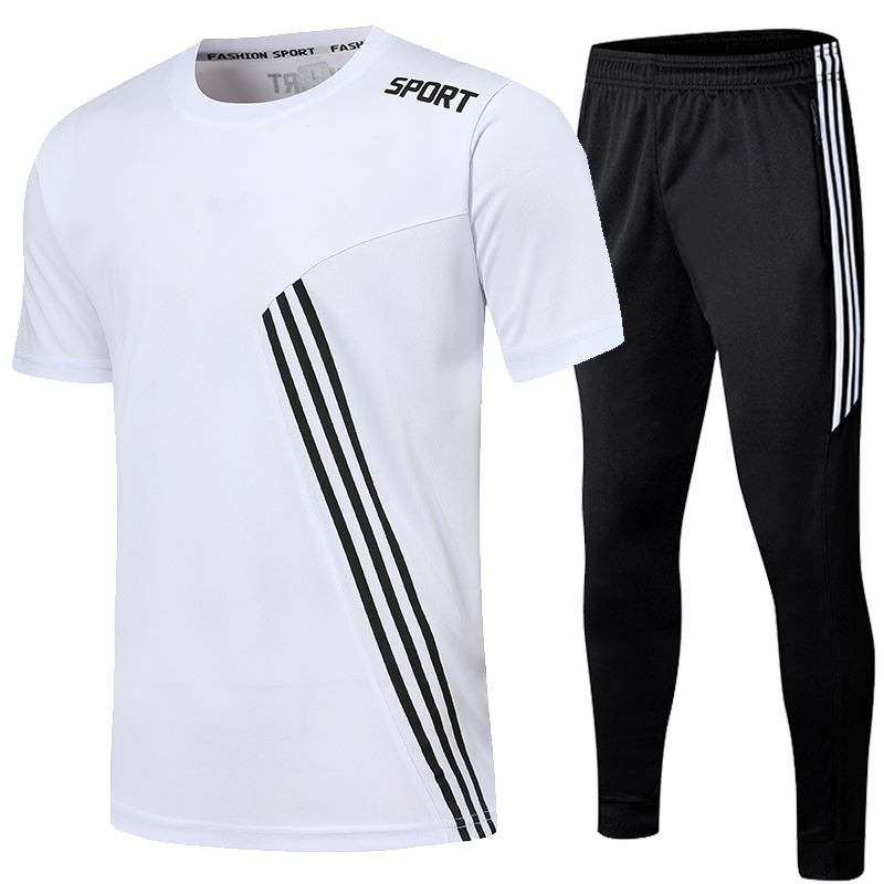 Sports Shirts Suits Running Shrit Men + Sport Jogging zip Running Pants men Soccer fitness workout Gym running suit men set