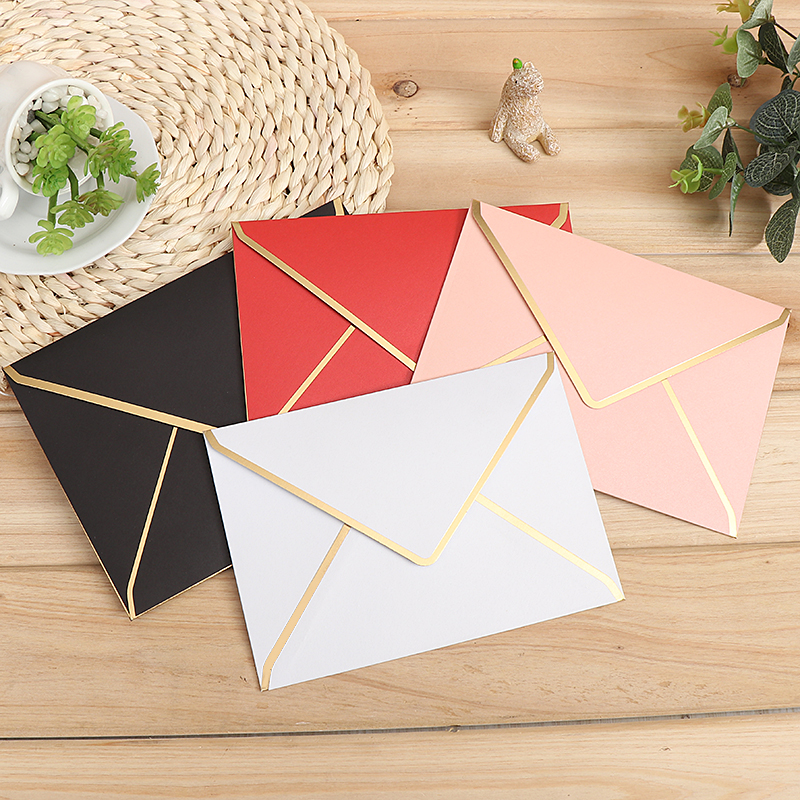 15pcs/lot 190mmx40mm, 175mmx125mm Gold Stamping Envelopes 250gsm Pearl Paper Wedding Business Invitation Envelopes Gift Envelope