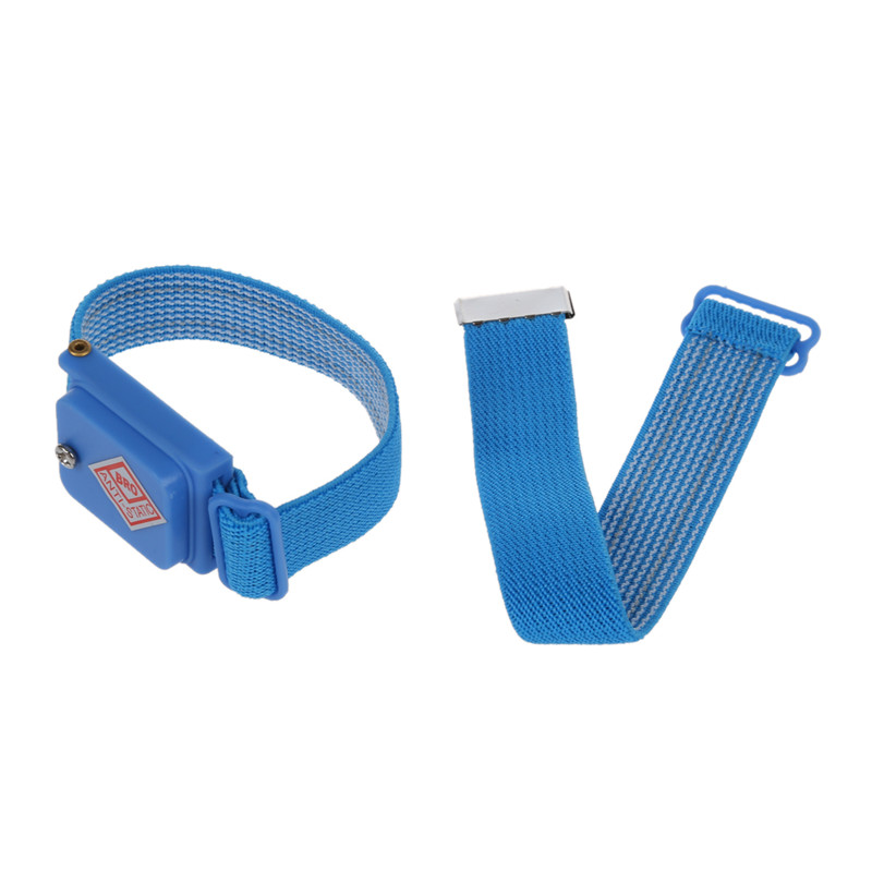Blue Wireless Adjustable Elastic Antistatic Wrist Strap Wristband