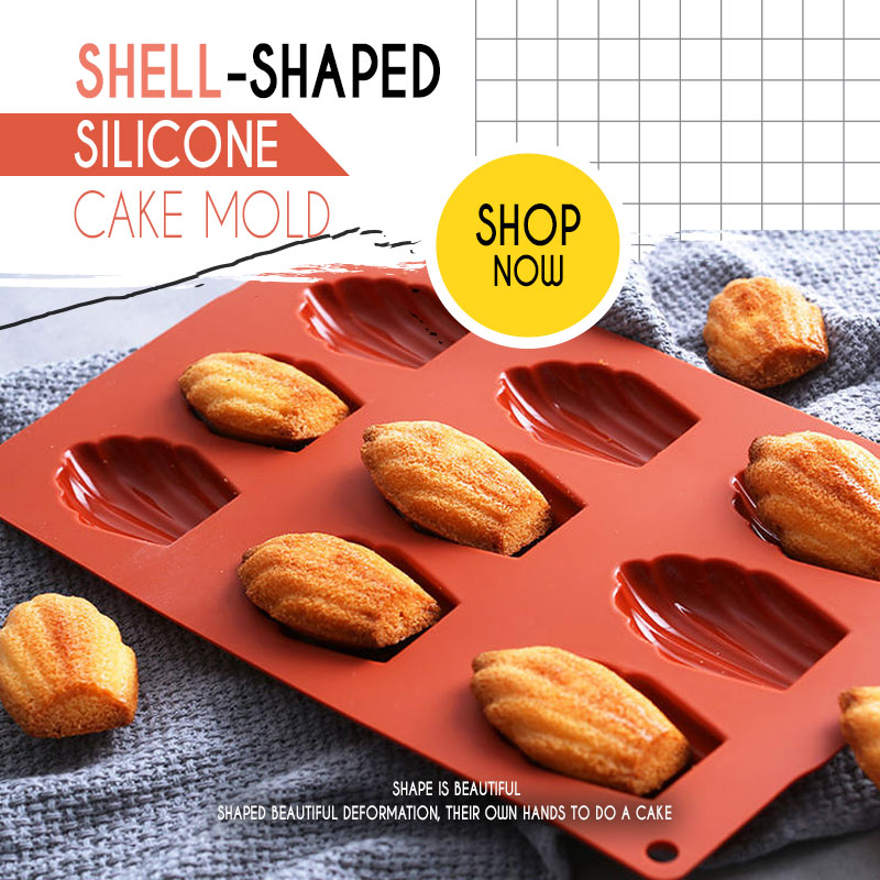 Mintiml Shell Cups Madeleine Shell Silicone Madeleine Cookie Mold 100% Platinum Silicone Shell Biscuits Cake Bakeware Tools