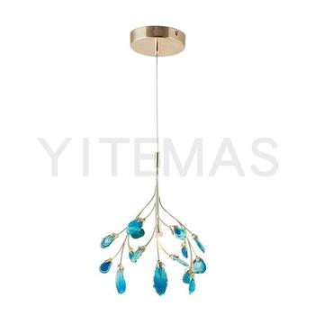 small natural agate slice chandelier blue green pink yellow brown purple red agate optional for kitchen hanging light G4*4