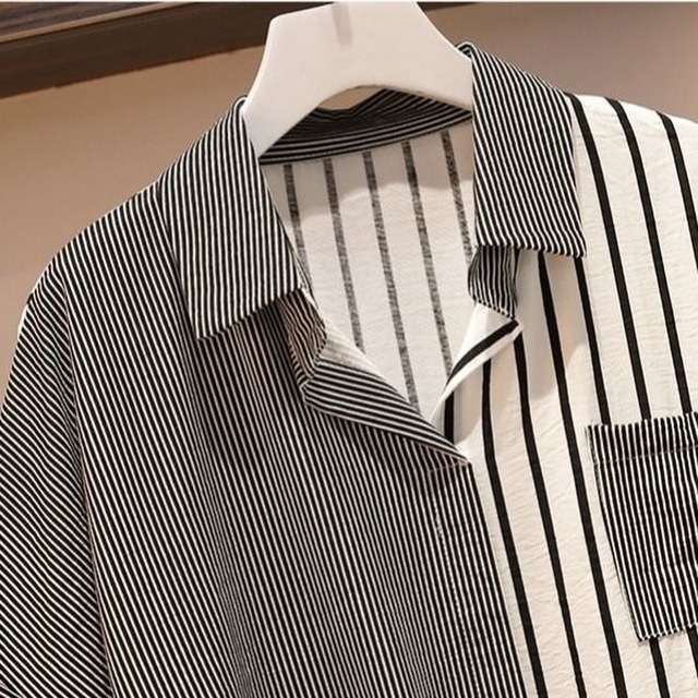 Fashion Autumn Set Women Striped Patchwork Drawstring Single Breasted Shirts Office Ladies Casual  Loose Chic Korean Simple 4