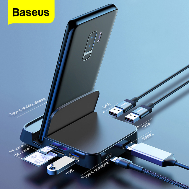 Baseus USB Type C HUB Docking Station For Samsung S20 S10 Dex Pad Dock Station USB-C to HDMI USB 3.0 SD TF Card USBC PD Adapter