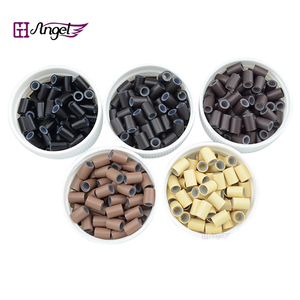 Image 1 - Wholesale 25000pcs 4.5*3.3mm Silicone Copper Hair Extension  tube beads for micro ring hair extension  hair ring