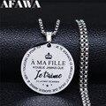 EINE MA FILLE NOUBLIE JAMAIS QUE IETAIME DELA PAPT DE MAMAN Edelstahl Halskette Geschenk Schwangere Frauen Schmuck collier N3299S01