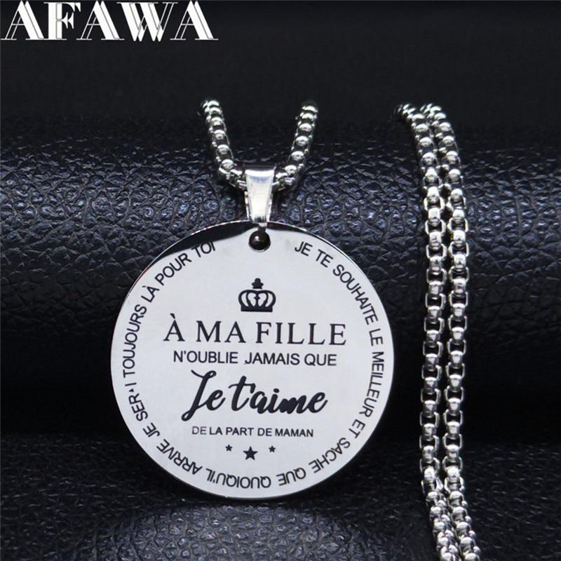 A MA FILLE NOUBLIE JAMAIS QUE IETAIME DELA PAPT DE MAMAN en acier inoxydable collier cadeaux femmes enceintes bijoux collier N101S01