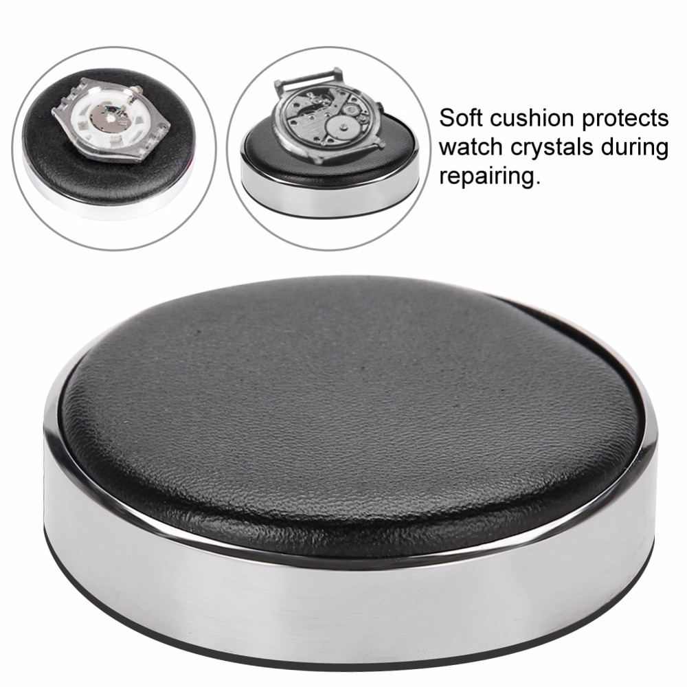 Watch Jewelry Case Movement Casing Cushion Pad Leather Protecting Holder Professional Watchmaker Repairing Tool Kits Dia 53mm