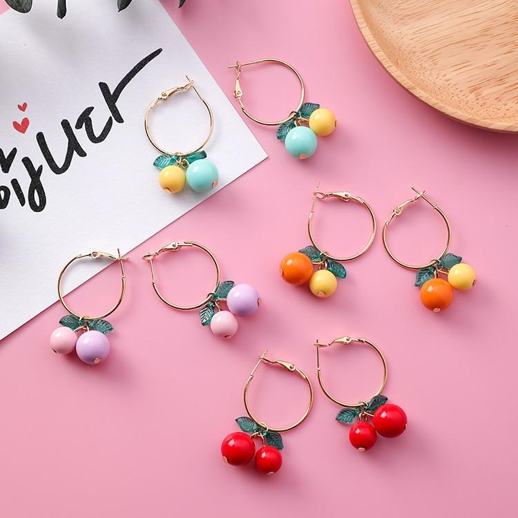hot red Cherry earrings eardrop Sweet fruit fresh cherry eardrop female fashion youth beautiful girl students earrings for women 11