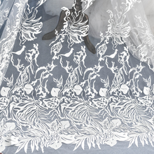 European Creative Flower Embroidery Lace Fabric Church Wedding Dress Skirt Diy Material Handmade Accessories Ivory White 110cm wide wedding dress lace embroidery diy women clothes materials clothing fabric accessories ivory white church happy hour