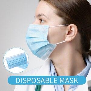 Image 5 - Máscara cirúrgica descartável 3 camadas, não tecido, adulto, anti poeira, à prova de poeira, máscara azul, proteção facial médica máscara