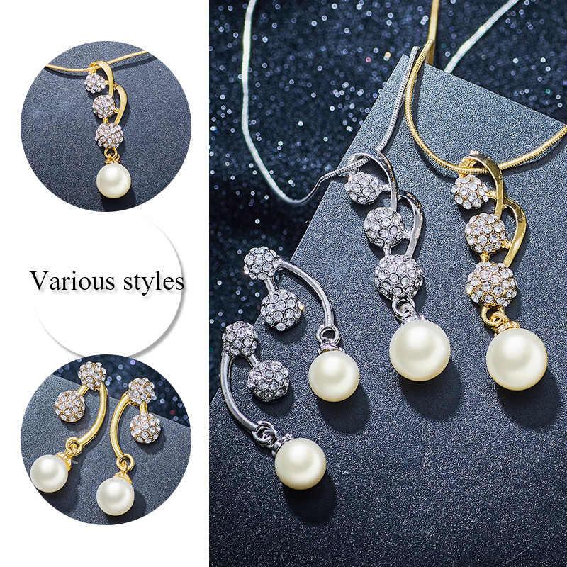 SHUANGR Hochzeit Schmuck Sets Volle Kristall Ball Intarsien Strass Imitation Perle Ohrring/Halskette Schmuck parure bijoux femme