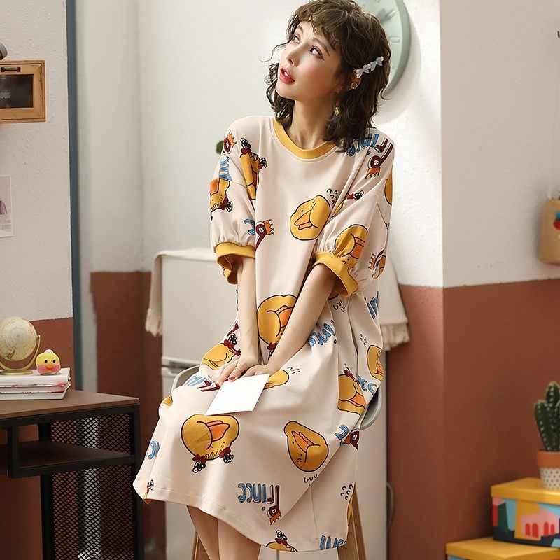 Plus Size Dames Cartoon Nachtkleding Korte Mouw Leuke Nachthemd Neglige Zomer Katoenen Nachtjapon Casual Nachthemd Thuis Jurk