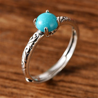 Adjustable Ring Natural Turquoises Ring For Women Men 925 Silver Sterling Crystal 5mm Round Beads Luxury Jewelry Ring AAAAA