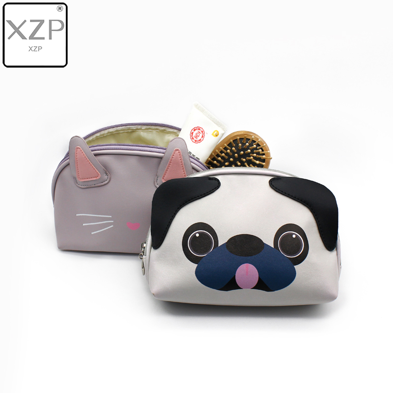 XZP Animal Cosmetic Bags 3D Printing Dogs Women Makeup Case Cute Kitten Cat Cosmetic Bag 3D Printed Gift Necessaries For Makeup