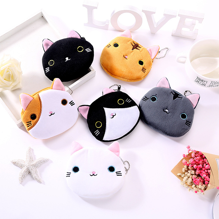 2021 plush cute cat lady coin purse ID card holder car key case cute oval zipper girl coin purse USB cable earphone bag