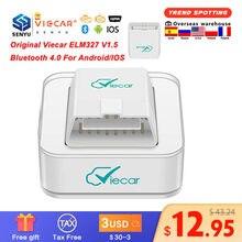 Viecar-herramienta de diagnóstico de coche, accesorio ELM327 V1.5 PIC18F25K80 Bluetooth 4,0 ELM 327 V 1 5 OBD2 escáner automático para Android/IOS OBD 2 OBD2