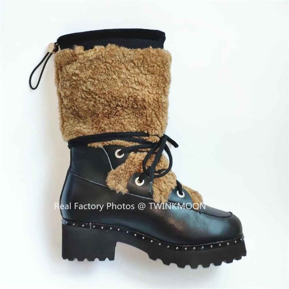 Bont Snowboots Vrouwen Winter Schoenen Flatform Lace Up Laarzen Pluche Chunky Lakleer Mid Calf Winter Laarzen Voor Vrouwen plus Size43 - 5