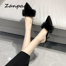 Escarpins à talons hauts pour femmes, chaussures d'été à la mode, pantoufles en fourrure à bout pointu, chaussures de printemps à plumes sauvages, taille 43 44, 2021