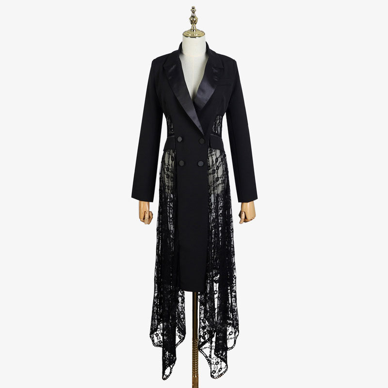 2020 Autumn And Winter Ladies And Gentlemen Irregular Swallowtail Hollow Lace Long Section Suit Jacket Windbreaker Female