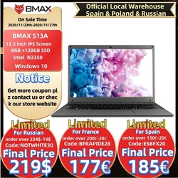Bmax s13a 13.3 polegadas intel n3350 notebook window10 8gb lpddr4 128gb ssd 1920*1080 ips laptops intel
