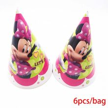 6 Stks/zak Minnie Mickey Mouse Caps Thema Party Voor Kinderen/Jongens Gelukkige Verjaardag Decoratie Thema Party Favor Minnie Party levert(China)