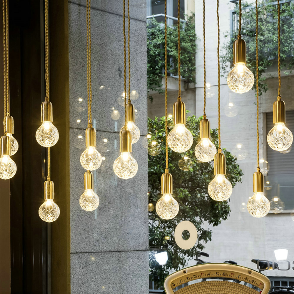Modern G9 LED Pendant Lights Nordic Crystal Glass Hanging Lamp Pendant Lamps Cafe Room Bar Lamp Single Pendant Lamps Decoration
