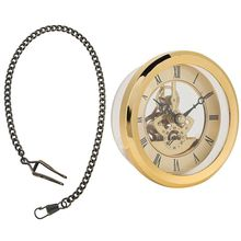 Antique Vintage Pocket Watch Chain Bronze & Toy Prop DIY Metal 103mm Built-in Clock Insert Transparent Clock DIY