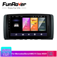 Funrover 2.5D IPS android 9.0 car radio multimedia 2din car dvd player For Mercedes/Benz/AMG R Class W251 R280 R300 R350 R63 gps