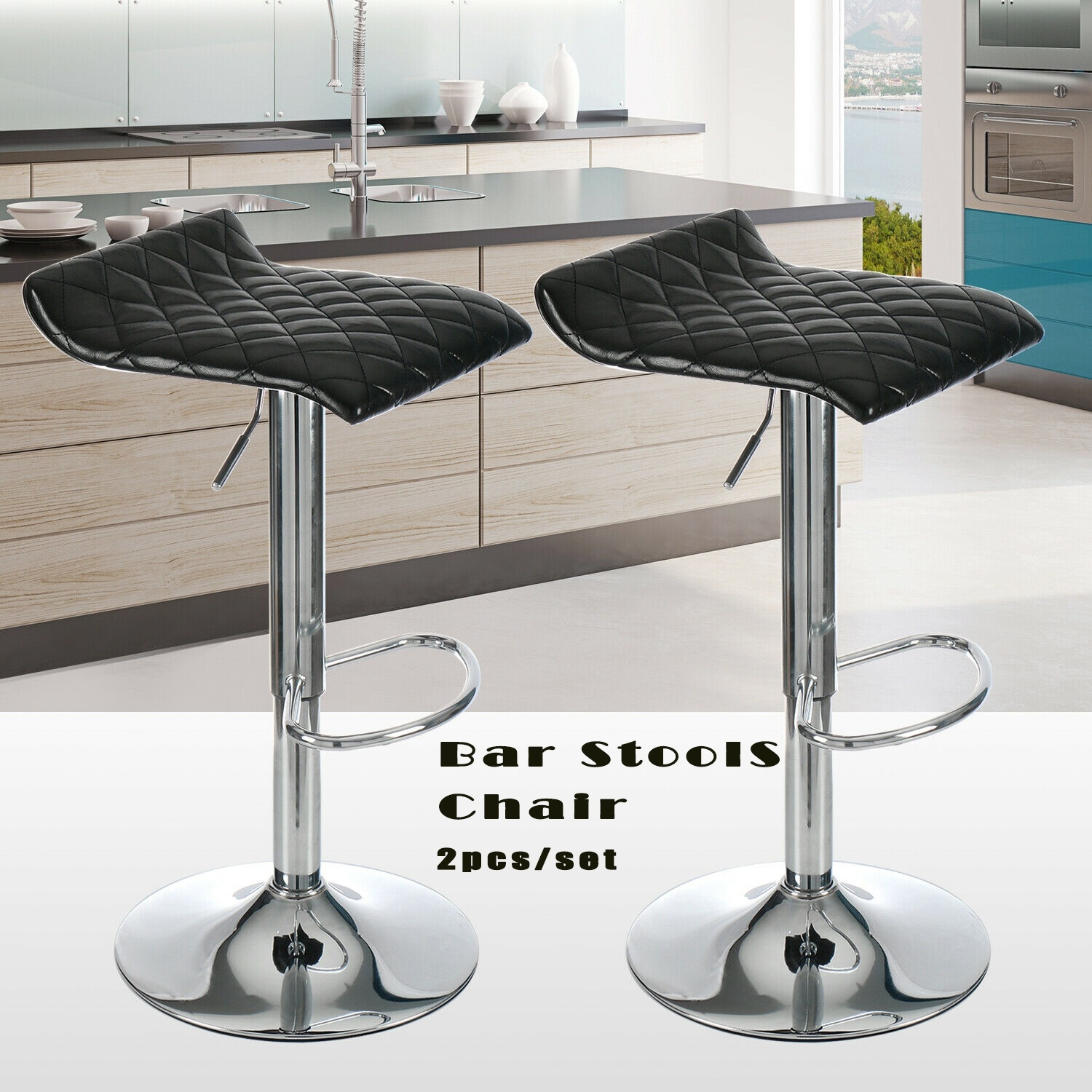 Set Of 2 Bar Stools Twill Leather Adjustable Swivel Pub Kitchen Breakfast Chairs
