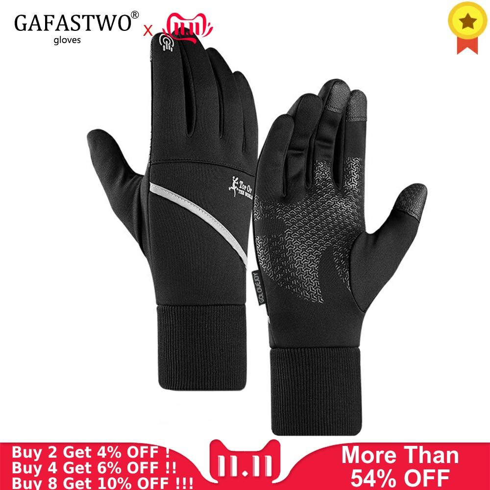 Winter Warm Touch Screen Mens Gloves Outdoor Ski Ladies Waterproof Non-Slip Gloves Night Reflective Pocket Sports Women Gloves