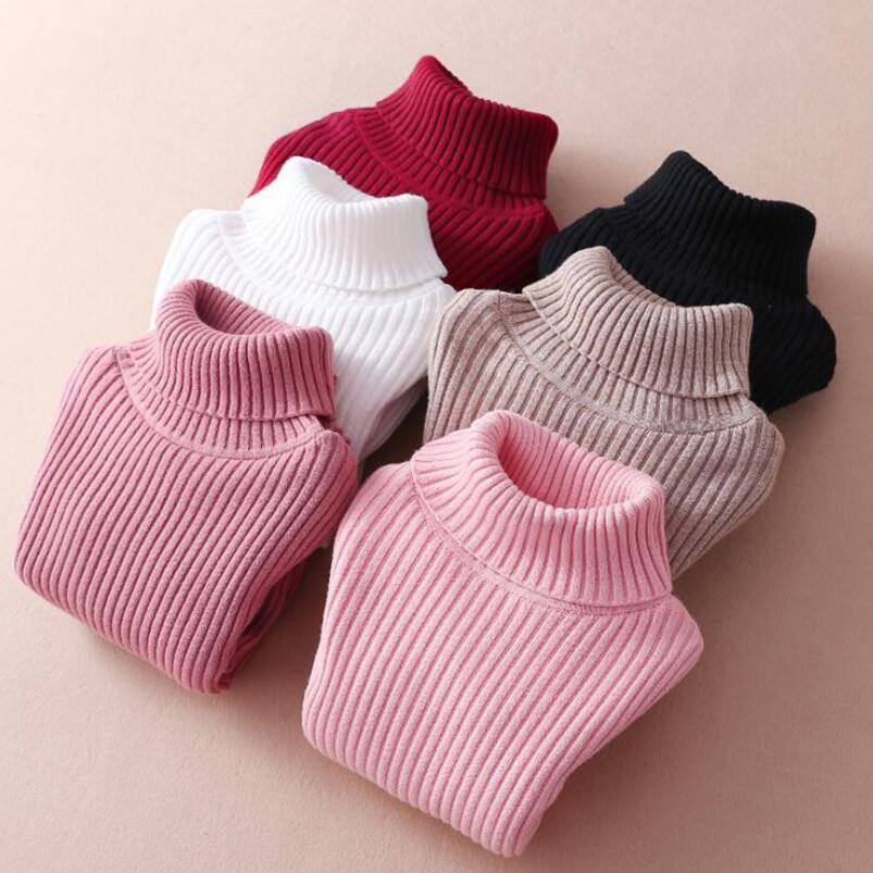 Thick Warm Spring Winter Baby Toddler Children Clothes Girls Pullover Turtleneck Sweater Long Sleeve Kids Knitted Sweaters Tops