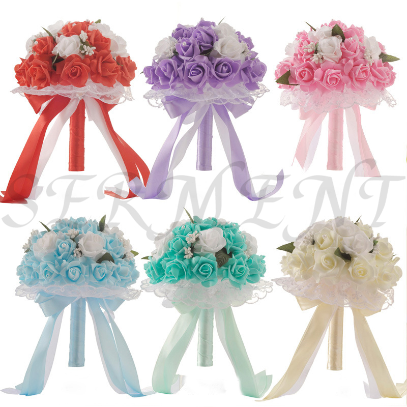 Wedding Flowers Bridal Bouquets Ramos De Novia Artificiales Wedding Accessories White Red Purple Cyan Blue 9.8inch Free Shipping