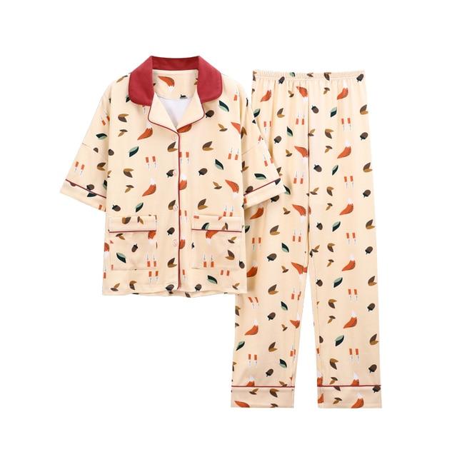 Grande taille 3XL 4XL vêtements de nuit pour femmes à manches courtes femmes coton pyjamas ensemble doux été automne imprimer loosesurvêtement Homewear ensemble
