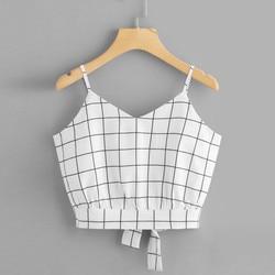 Top cropped xadrez elegante, camiseta feminina cropped frente única alto femme 2020,