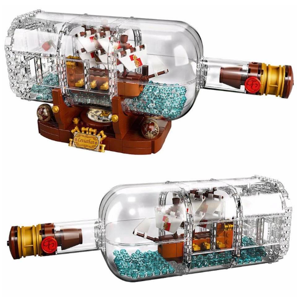 1078pcs Light Technic Idea Ship Boat In A Bottle Compatible Lepining 21313 Building Blocks Bricks Toys For Children Gift