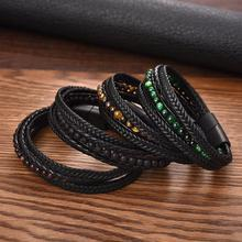 Jiayiqi Fashion Natural Stone Beads Men Bracelet Multilayer Leather Bracelet Punk Jewelry Stainless Steel Magnetic Clasp Bangles
