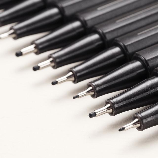 10 Pcs/Set Pigment Liner Micron Ink Marker Pen 0.05 0.1 0.2 0.3 0.4 0.5 0.6 0.8 1.0 Brush Tip Black Fineliner Sketch Drawing Pen 1